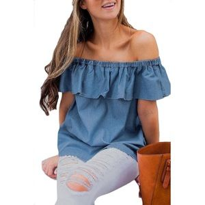 Tops - Off the shoulder chambray top